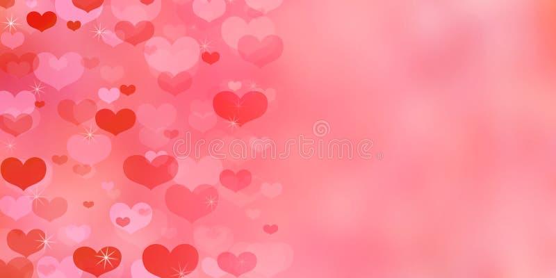 与心脏的情人节居住的珊瑚背景 库存例证