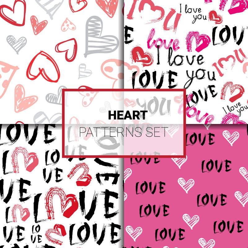 与心脏的情人节样式集合无缝的剪影或难看的东西背景 皇族释放例证