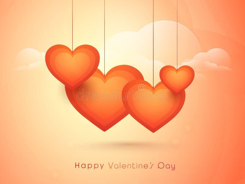与心脏的愉快的情人节庆祝 库存例证