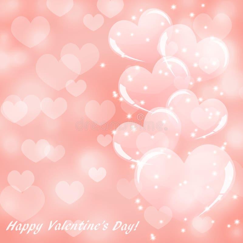 与心脏的抽象桃红色背景为情人节 向量例证