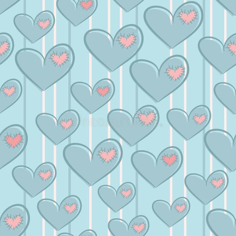 与心脏的无缝的情人节样式 库存例证