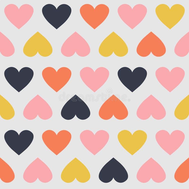 与心脏的无缝的样式 向量例证