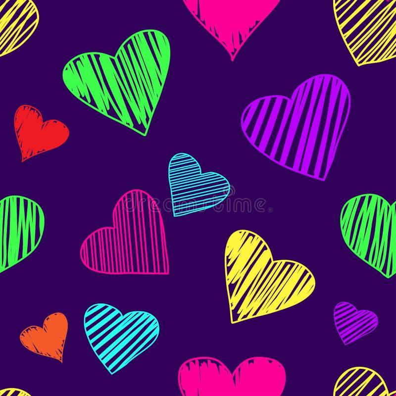 与心脏的无缝的样式在黑暗的紫色背景 也corel凹道例证向量 库存例证