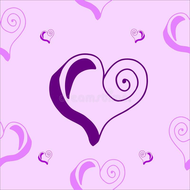 与心脏的无缝的样式在紫色和桃红色 免版税库存照片