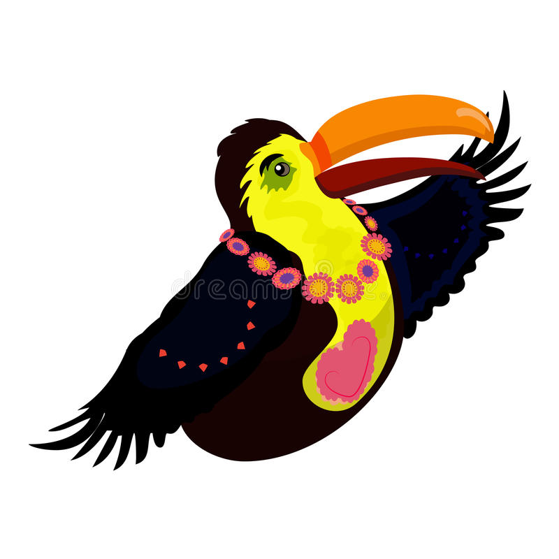 与心脏的明亮的Toucan 热带鸟 库存例证