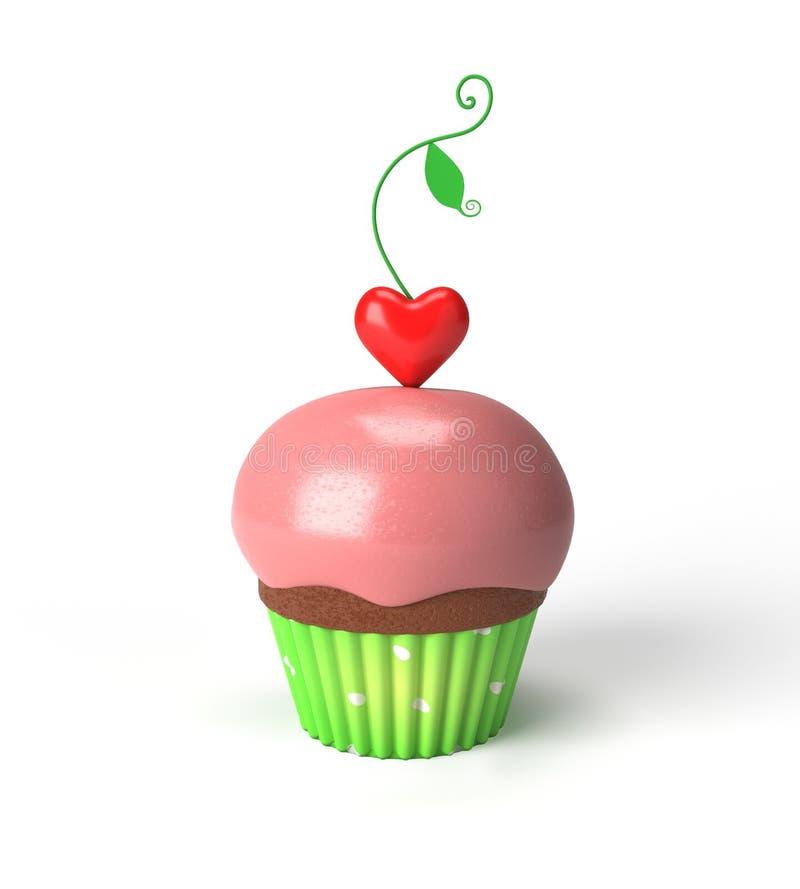 与心脏的杯形蛋糕 免版税库存照片