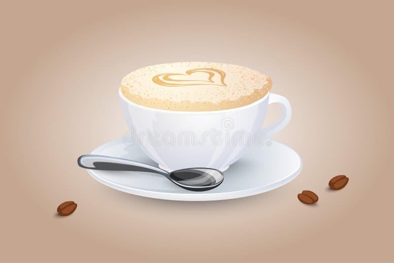 与心脏的热奶咖啡在牛奶泡沫 在白色杯子的普遍的咖啡饮料有茶碟和匙子的 也corel凹道例证向量 向量例证