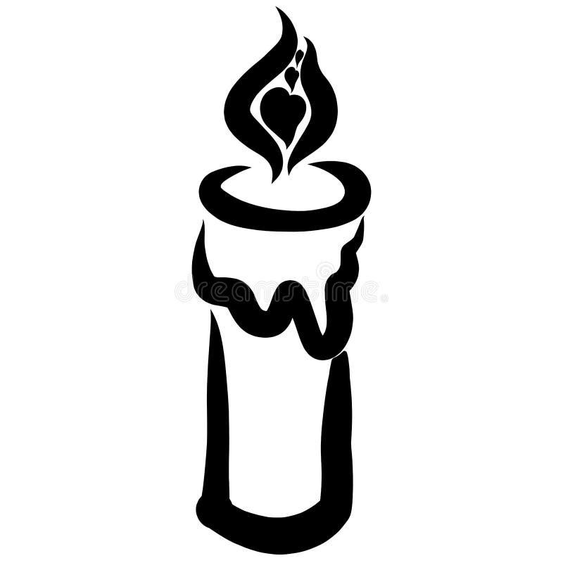 与心脏的燃烧的蜡烛在火焰,黑样式 皇族释放例证