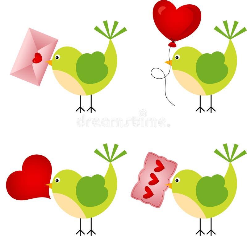 与心脏的爱鸟 向量例证