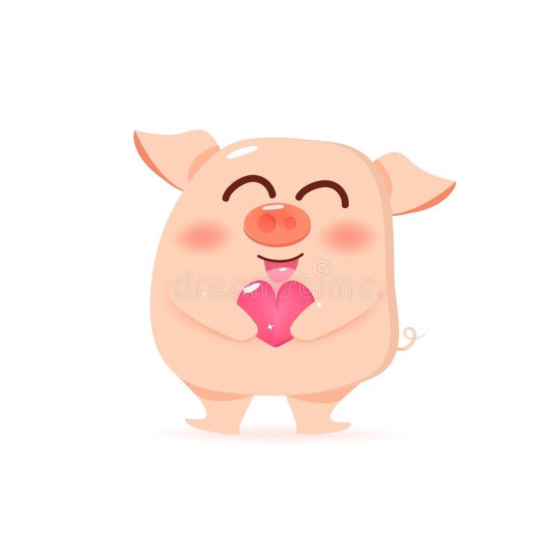 与心脏的猪,给爱、愉快的情人节和农历新年,逗人喜爱的卡通人物汇集传染媒介例证 向量例证