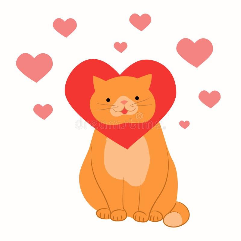与心脏的猫在美好的爱 皇族释放例证