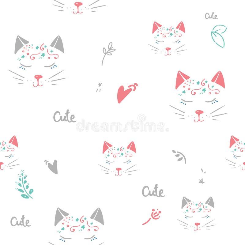与心脏的猫无缝的传染媒介样式 逗人喜爱的手拉的桃红色小猫面孔 红色上升了 在白色bacground 皇族释放例证