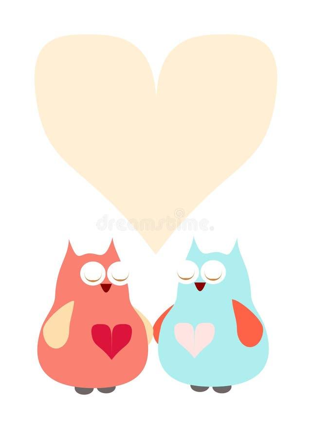 与心脏的猫头鹰 免版税库存图片