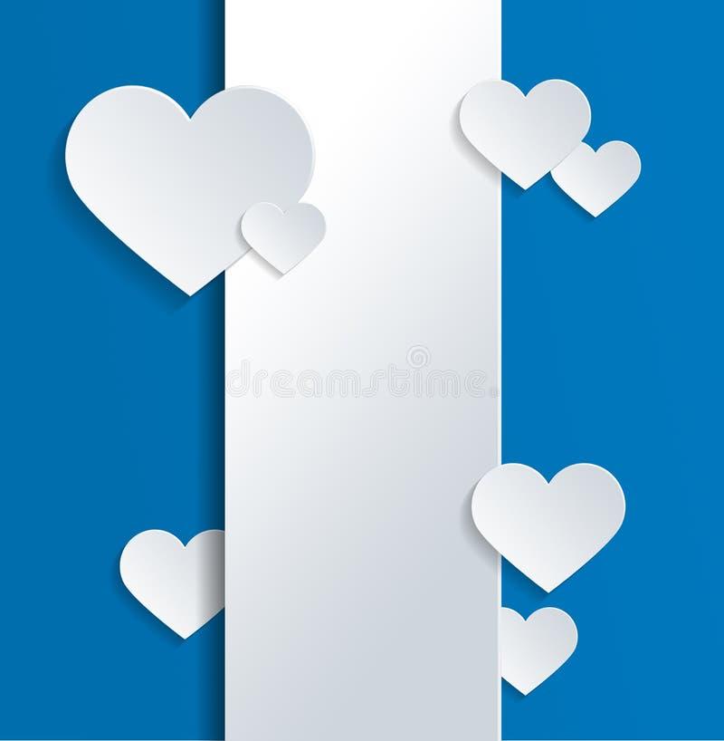 与心脏的白色横幅和在蓝色的爱文本 皇族释放例证