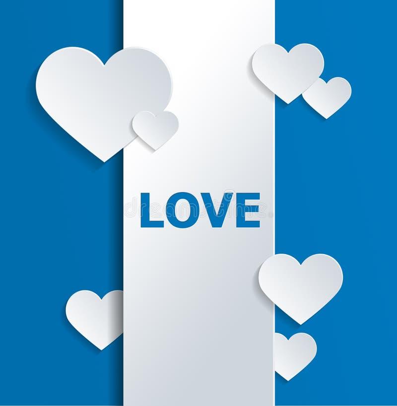 与心脏的白色横幅和在蓝色的爱文本 向量例证