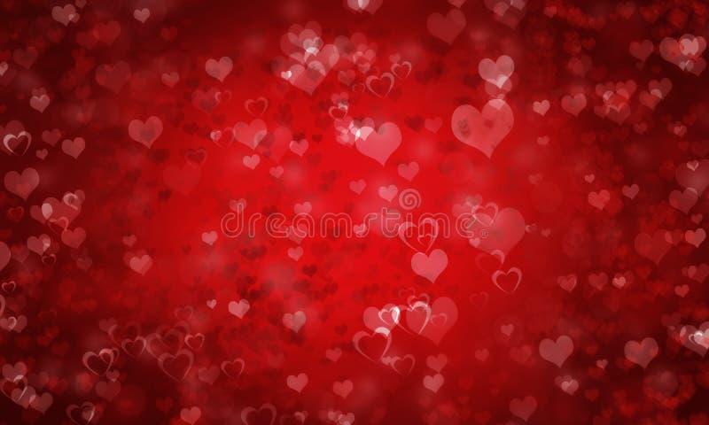 与心脏的红色情人节背景 免版税库存照片