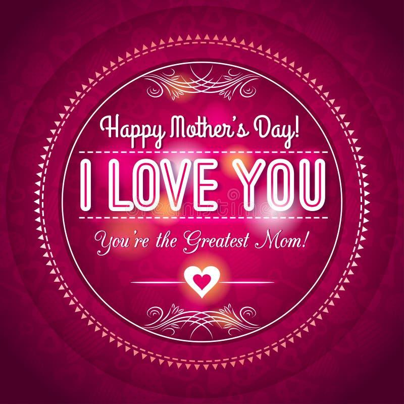 与心脏的红色母亲节贺卡和愿望发短信 库存例证