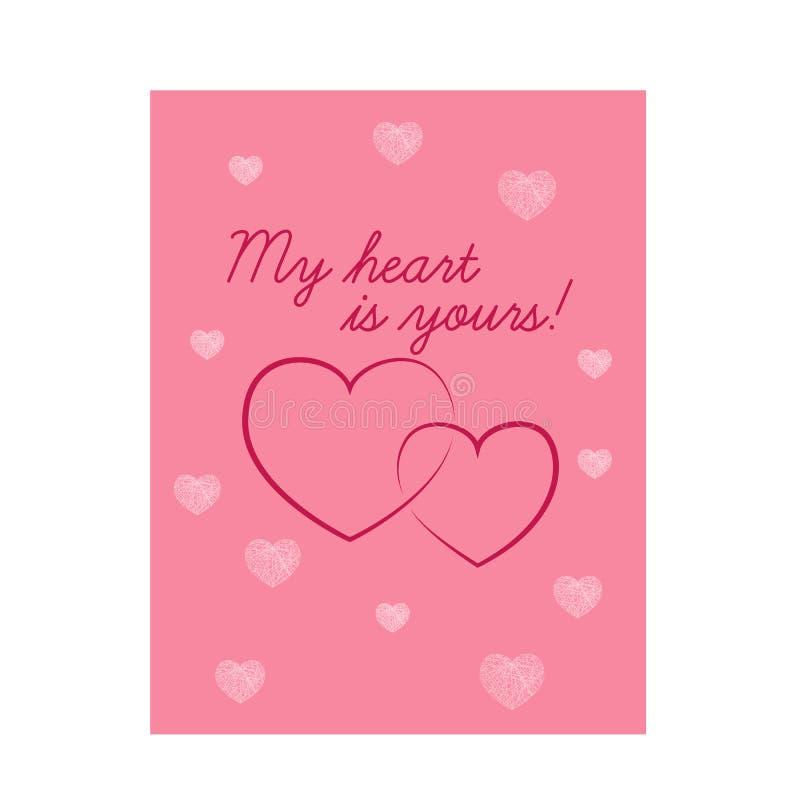 与心脏的美丽的桃红色华伦泰s天卡片 库存例证