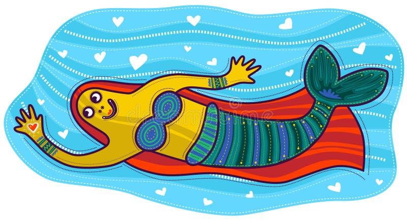 与心脏的美人鱼在她的手上 向量例证