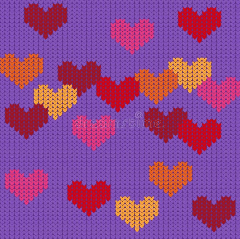 与心脏的被编织的紫色无缝的样式 向量例证