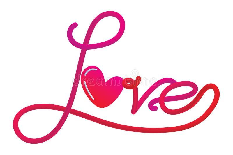 与心脏的装饰爱文本 向量例证