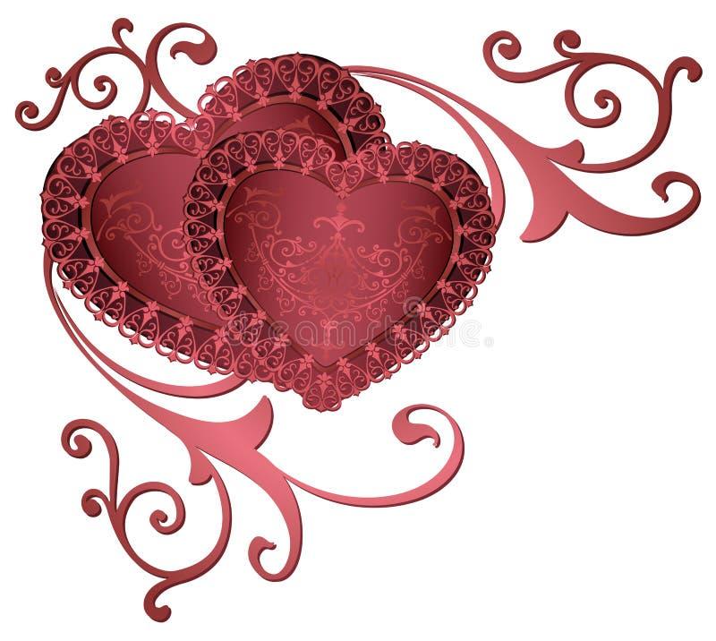 与心脏的装饰边 与花饰金黄鞋带边界和框架的浪漫红色心脏 美好的皇家心脏 向量例证