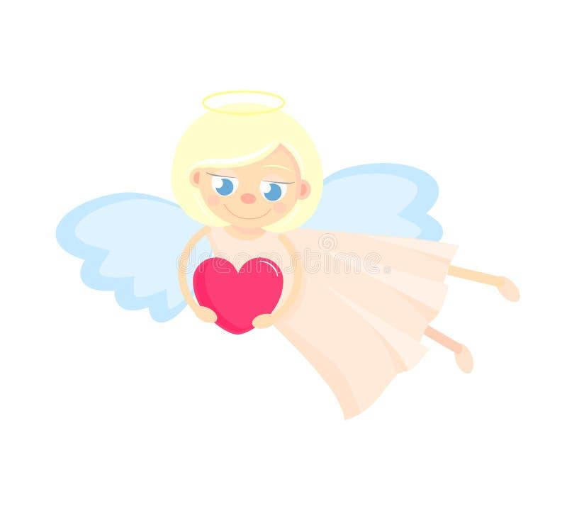 与心脏的逗人喜爱的丘比特 对华伦泰或一张卡片为情人节 好的白肤金发的女孩飞行 皇族释放例证