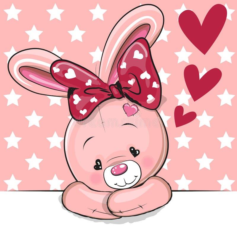与心脏的逗人喜爱的动画片兔子 皇族释放例证
