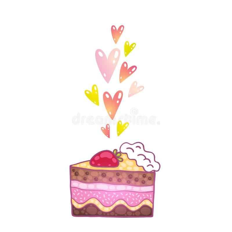 与心脏的逗人喜爱的动画片蛋糕。 向量例证