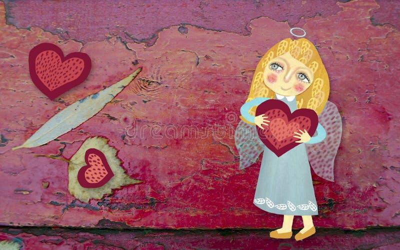 与心脏的逗人喜爱的小的天使在难看的东西红色木被绘的背景 用手被画的图象 St情人节题材 免版税库存照片