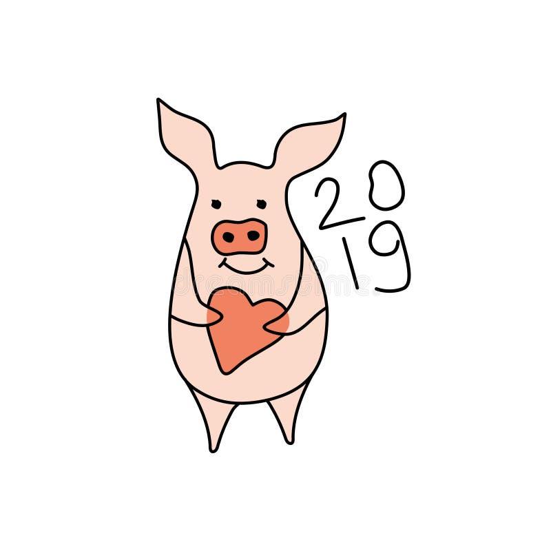 与心脏的逗人喜爱的猪 2019年 漫画人物 库存例证