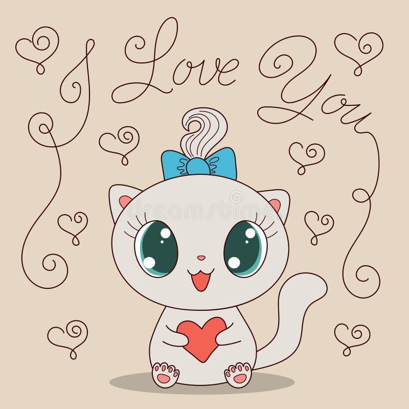 与心脏的逗人喜爱的猫 向量例证