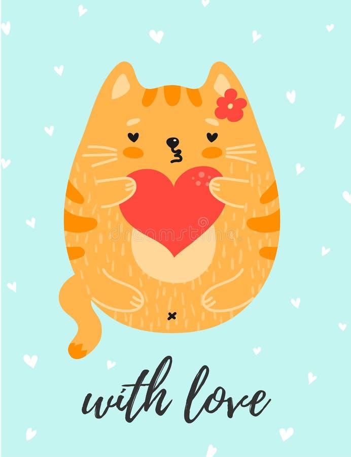 与心脏的逗人喜爱的红色猫在充满爱的爪子 皇族释放例证