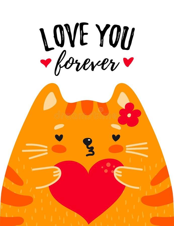 与心脏的逗人喜爱的红色猫在爪子 库存例证