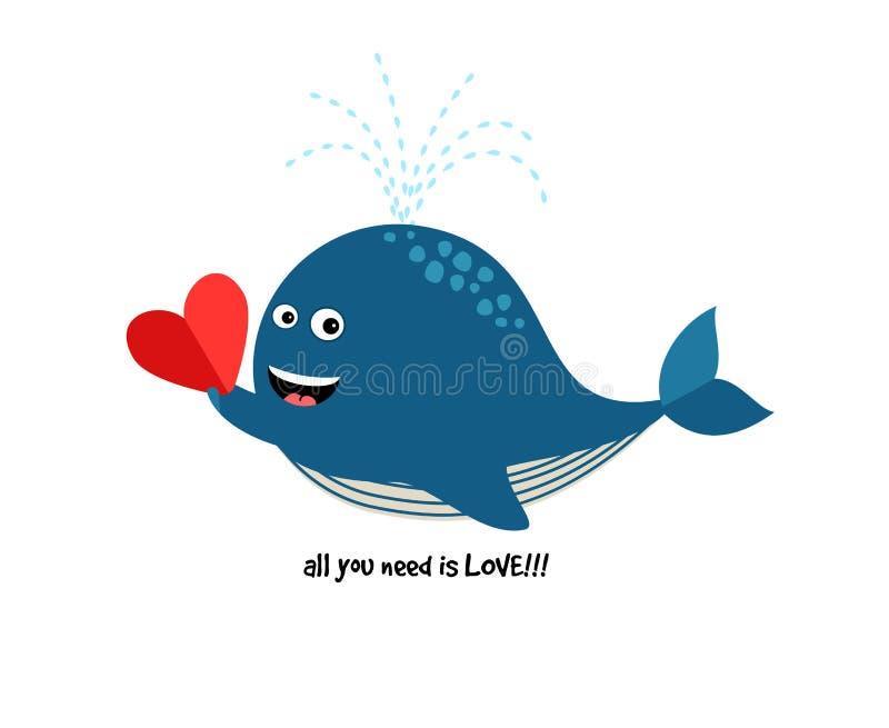 与心脏的逗人喜爱的蓝鲸 向量例证