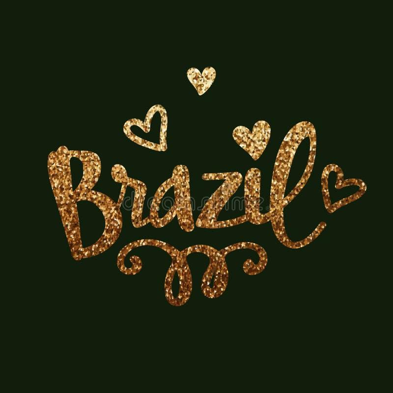 与心脏的金黄闪烁的文本巴西 向量例证