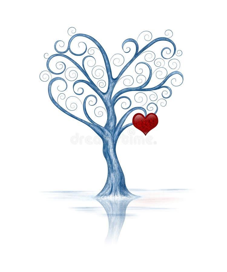 与心脏的风格化树 库存例证