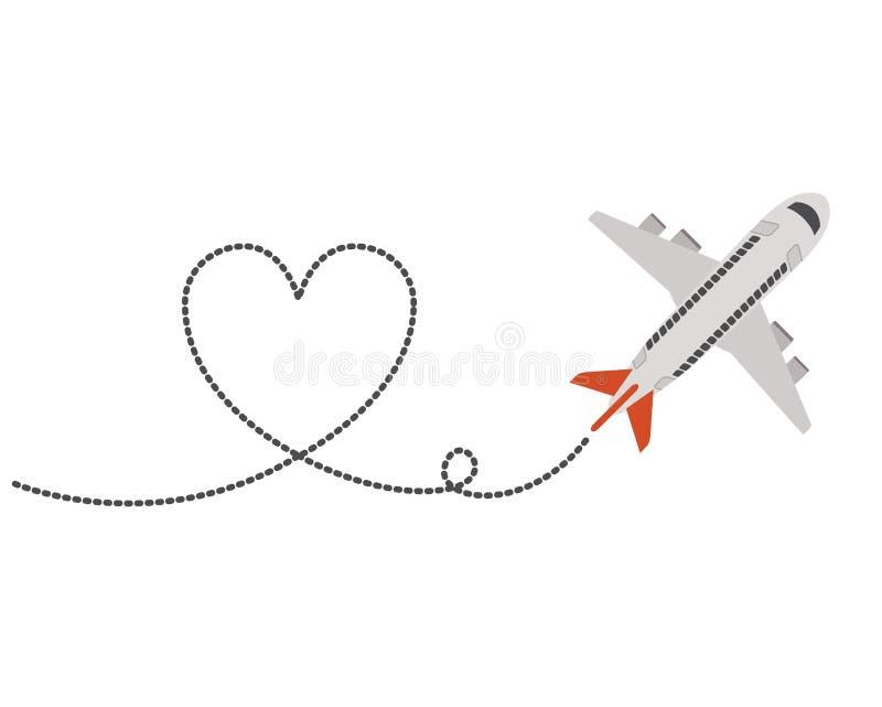 与心脏的飞机飞行 向量例证