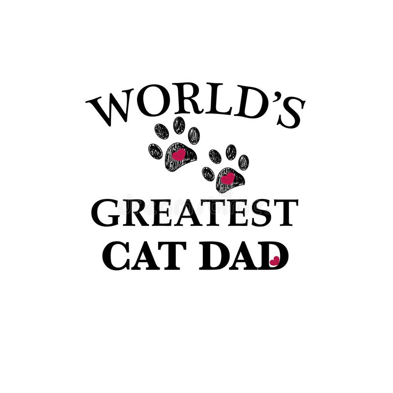 与心脏的黑爪子印刷品 世界` s最巨大的猫爸爸文本 愉快的父亲` s天 库存例证