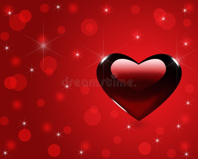 与心脏的贺卡,情人节。 库存例证