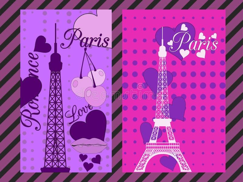 与心脏的巴黎海报 从艾菲尔铁塔、樱桃和亲吻的浪漫拼贴画 法国 向量例证