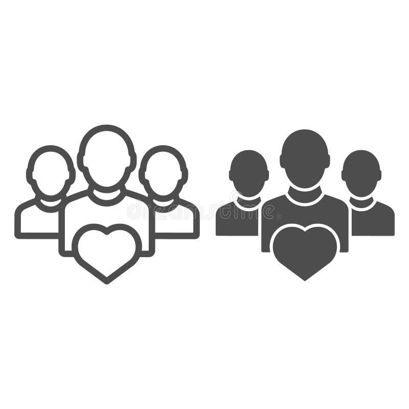 与心脏线和纵的沟纹象的用户群 队在白色隔绝的传染媒介例证 配合概述样式设计 向量例证