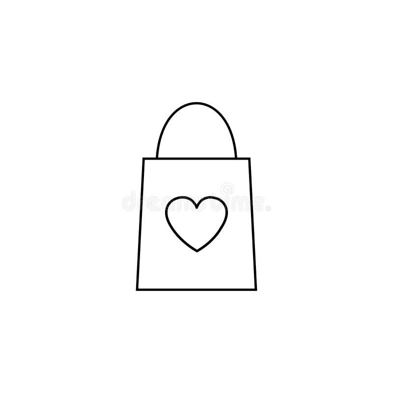与心脏线象的购物袋 向量例证. 插画 包括有 节假日图片
