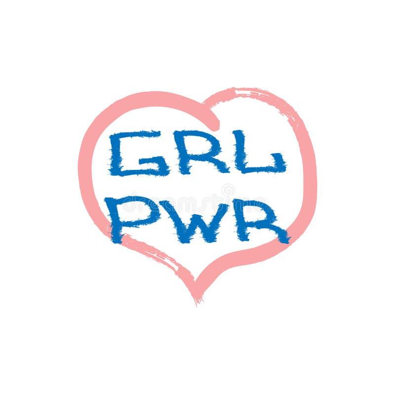 与心脏被绘的水彩刷子的题字女孩力量在难看的东西样式 r 库存例证