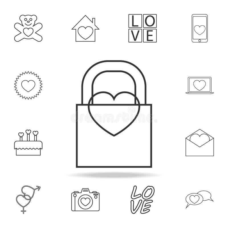 与心脏象的城堡 套爱元素象 优质质量图形设计 标志,概述标志我们的汇集象 库存例证
