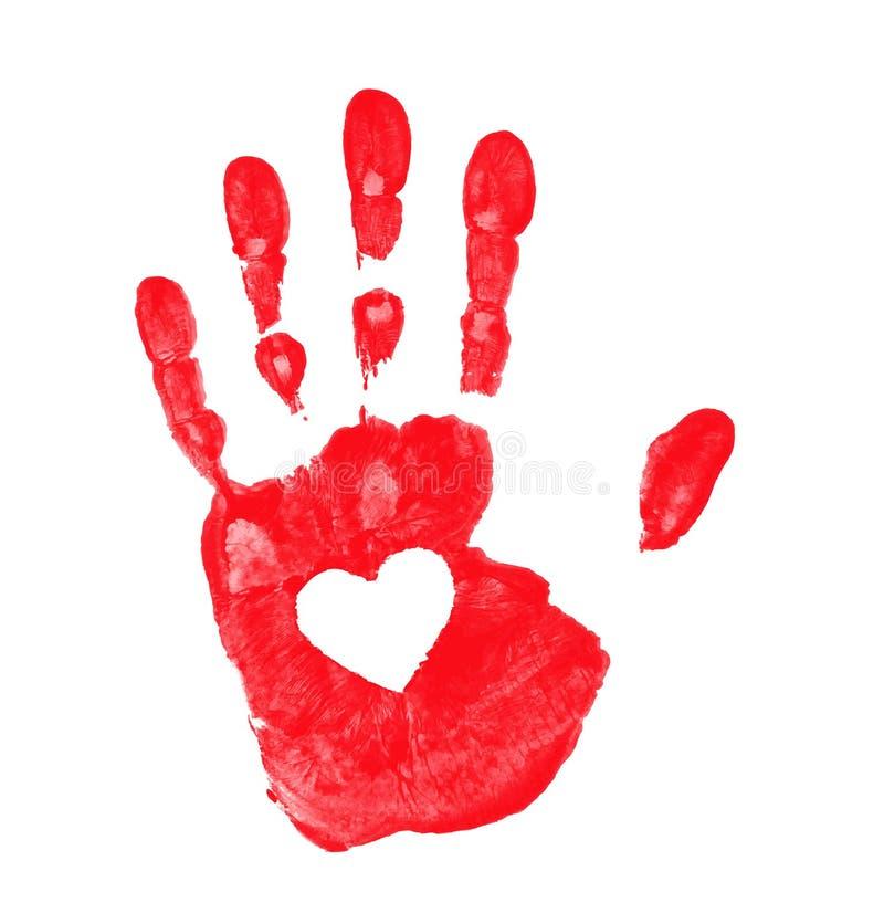 与心脏象的手印刷品 库存照片