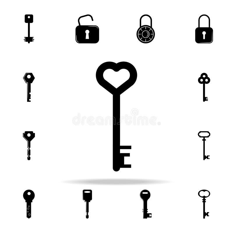 与心脏象的钥匙 锁和钥匙象全集网和机动性的 库存例证