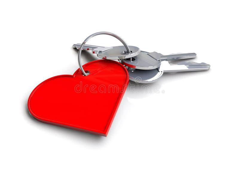 与心脏象钥匙圈的议院钥匙 钥匙的概念的我的心脏 爱 向量例证