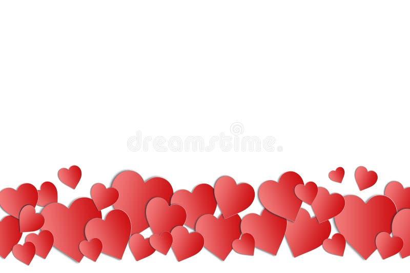 与心脏边界和拷贝空间的情人节卡片 皇族释放例证
