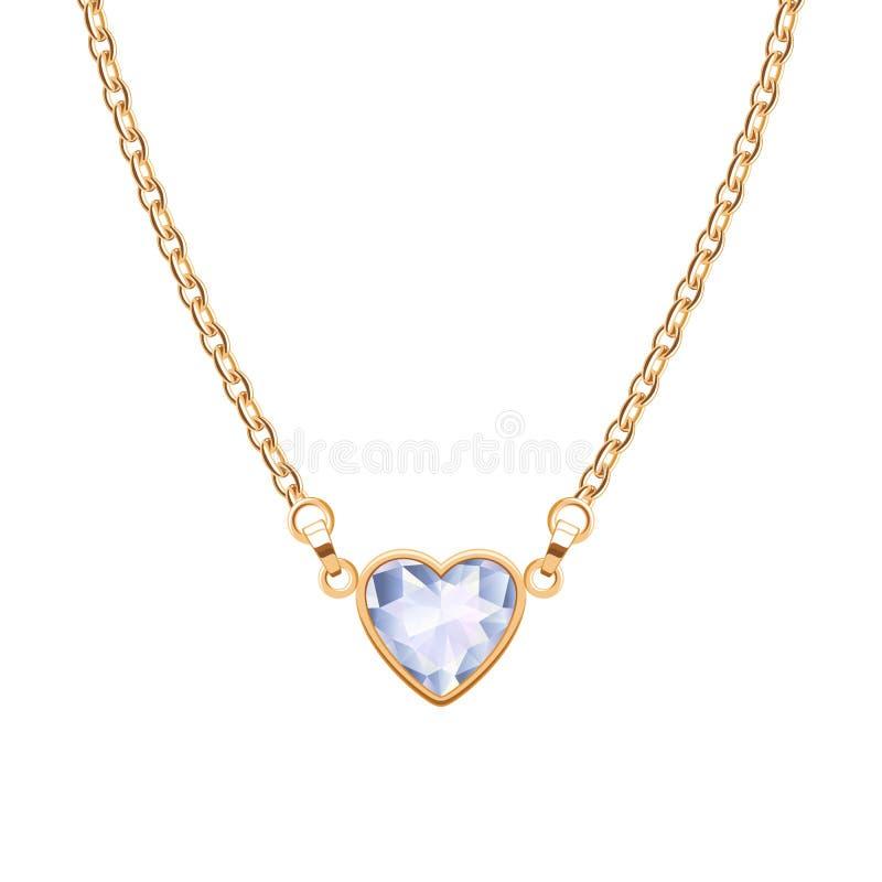 与心脏金刚石垂饰的金黄链子项链 向量例证